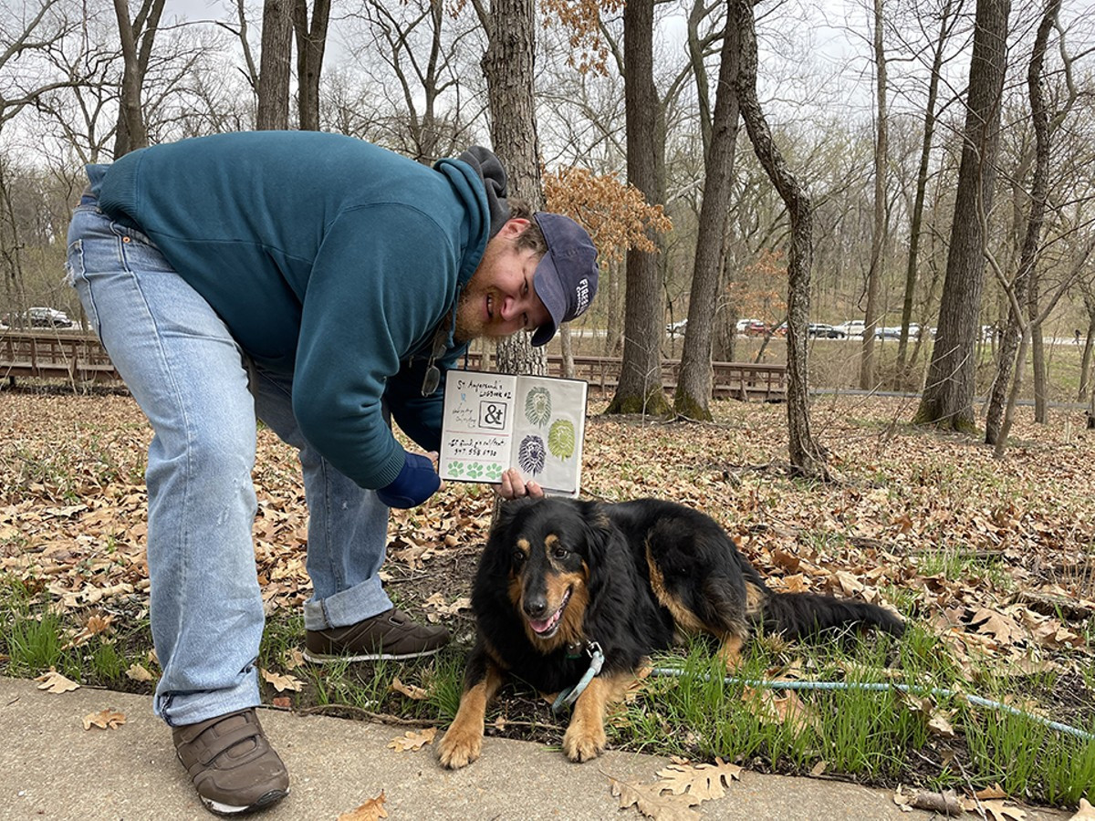 Patrick Blindauer and his search partner Penny at an undisclosed site.