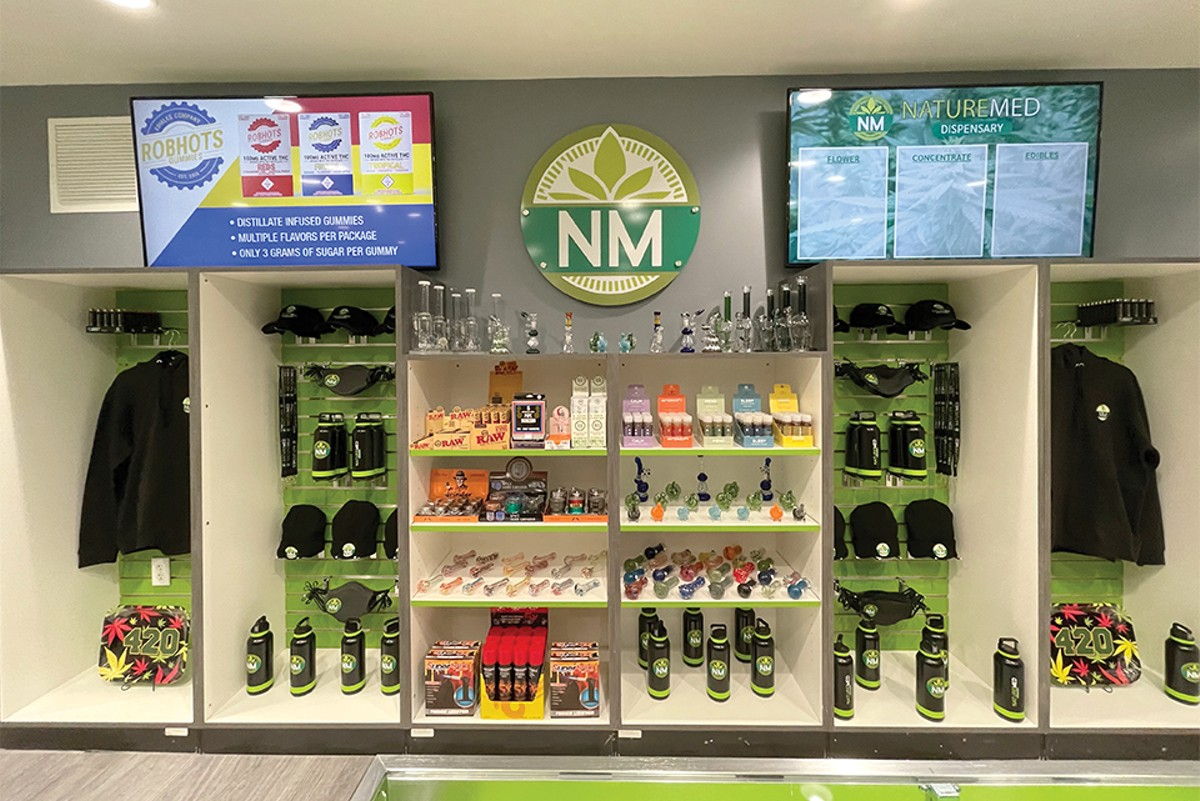 The head shop vibe of Nature Med Dispensary is strong, with cases full of gear.