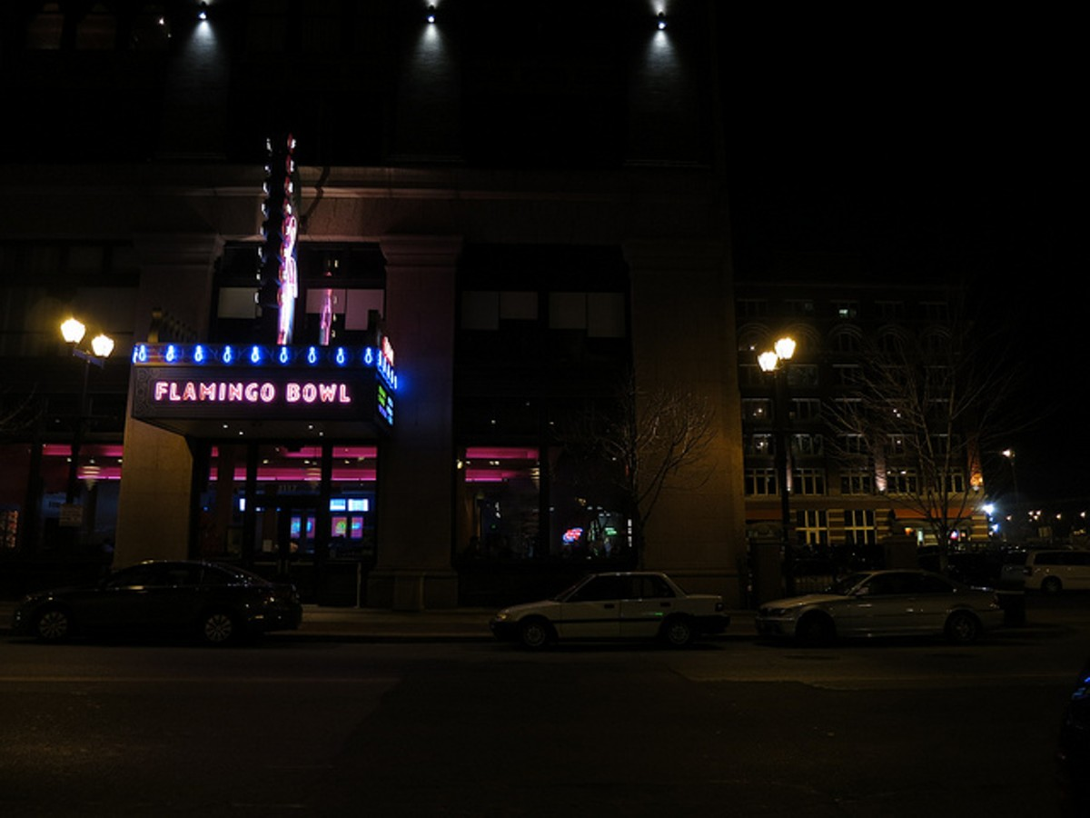 When darkness falls, head downtown to Flamingo Bowl.