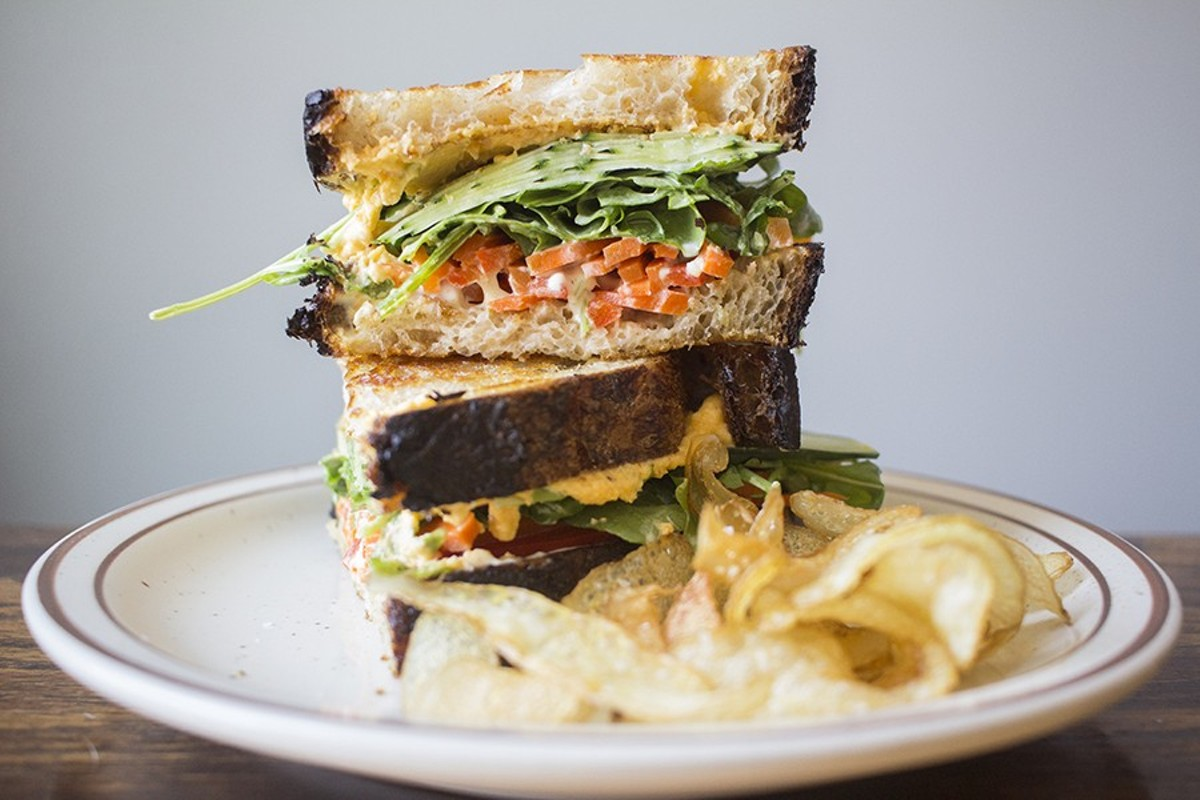 "Rise's ""Lunch Sandwich"" features giardinera, cucumber, arugula and cheddar spread."