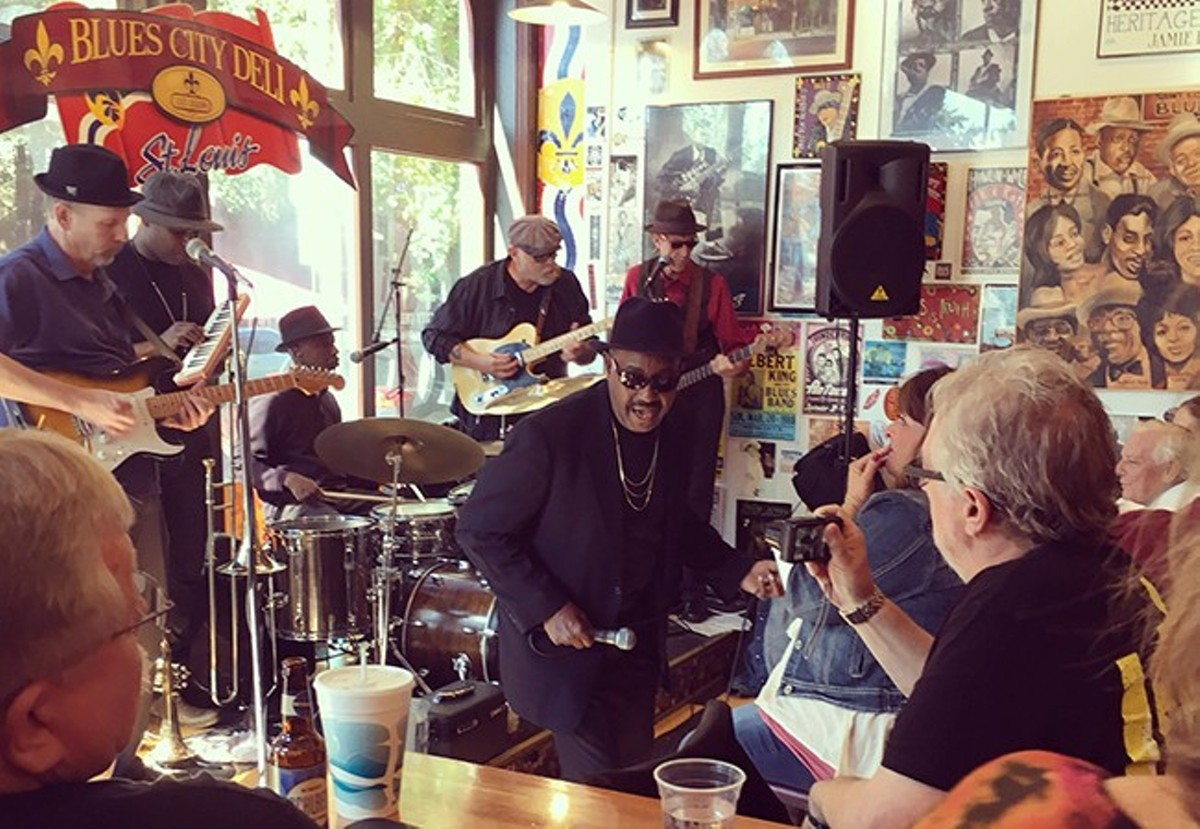 Soulard Blues Band has changed lineups recently. Longtime vocalist Marty Abdullah, seen holding the mic, left the group in June.