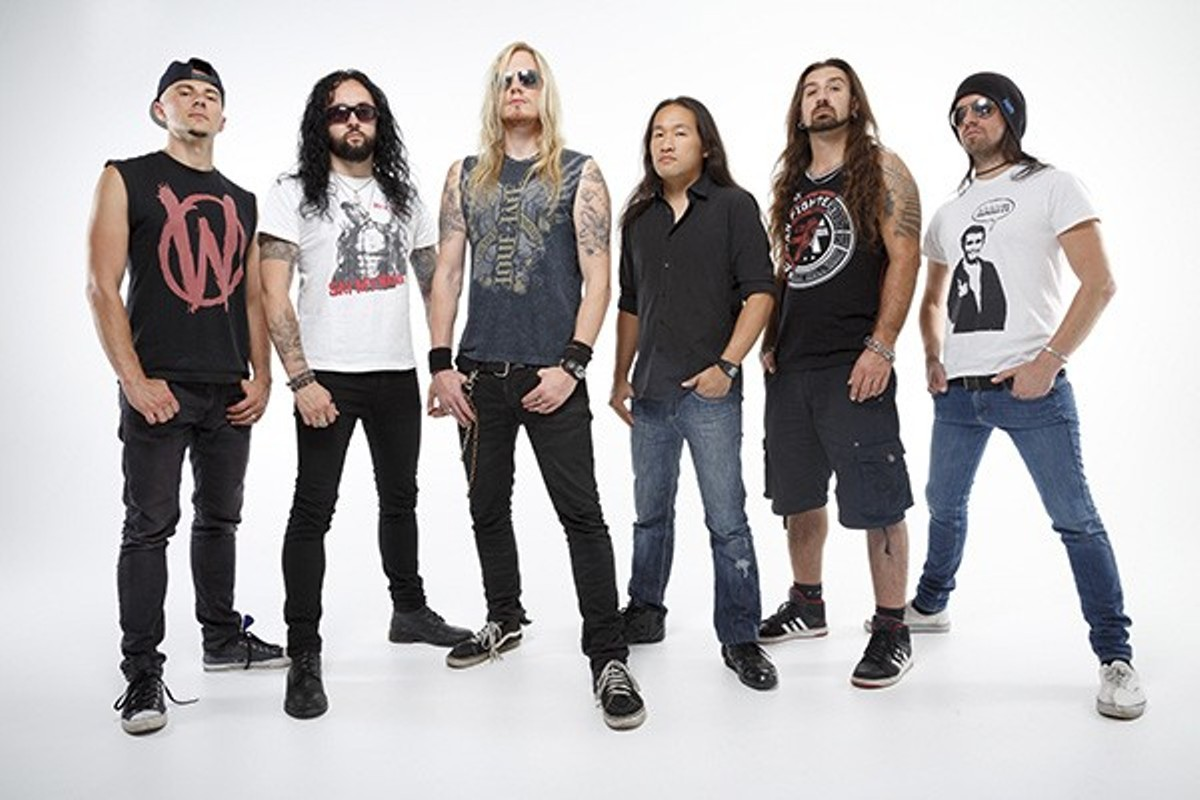 Herman Li, third from right, with the other members of DragonForce, a band as ridiculous as it is talented.