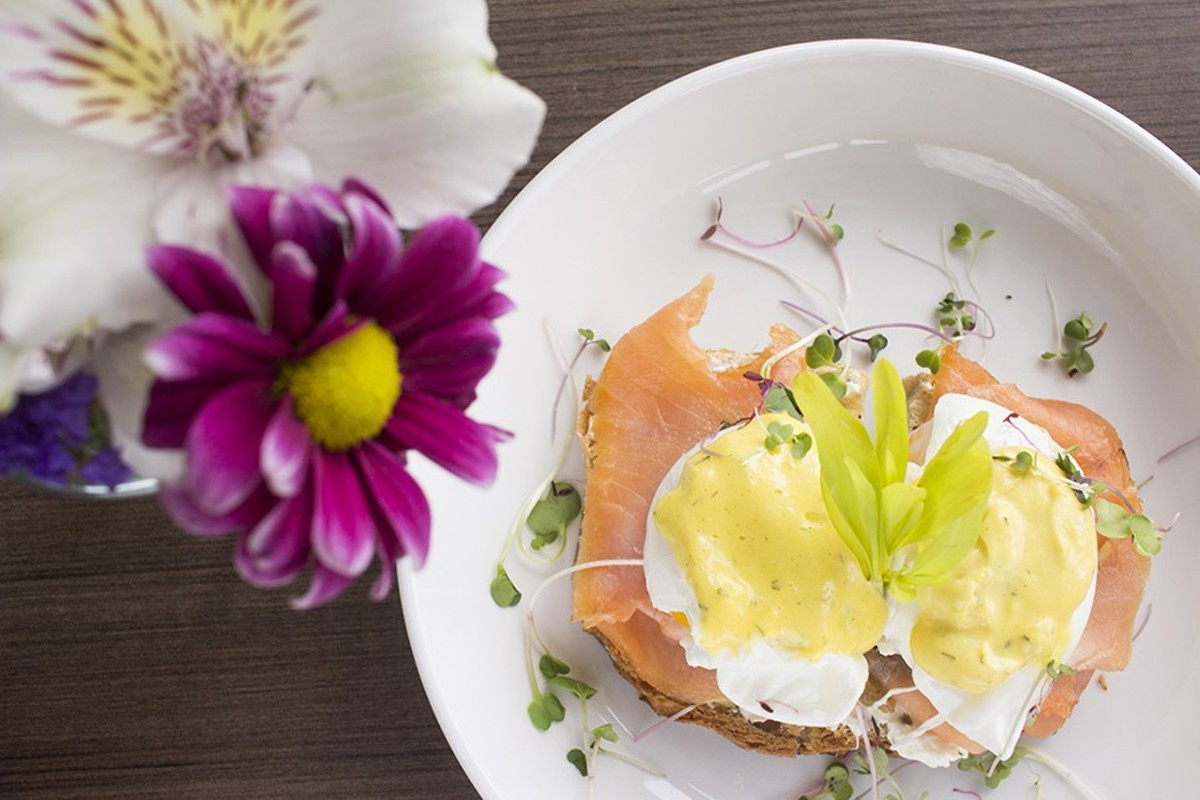 "The ""L.E.O."" is a twist on an eggs benedict with smoked salmon, caramelized onions, goat cheese, dill hollandaise and capers on rye toast."