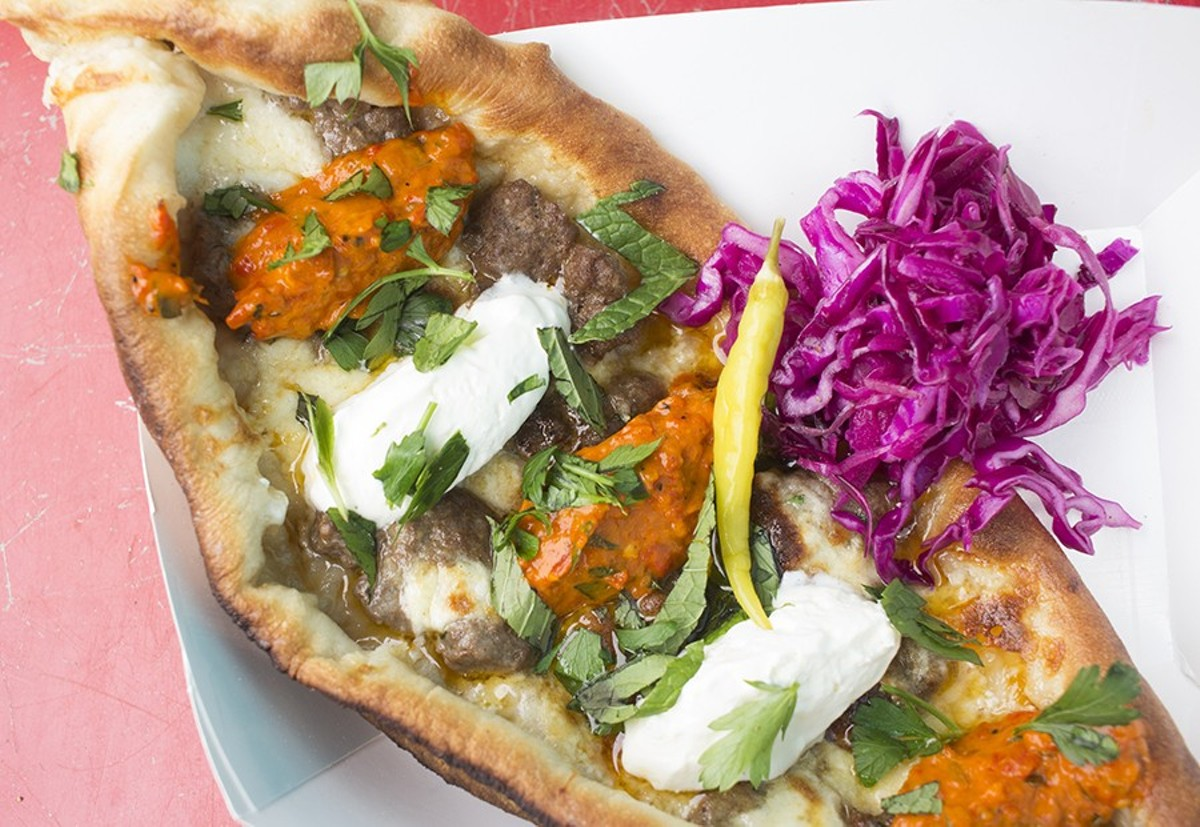 Pide is stuffed with beef or cheese and served with ajvar, a spicy roasted red-pepper relish.