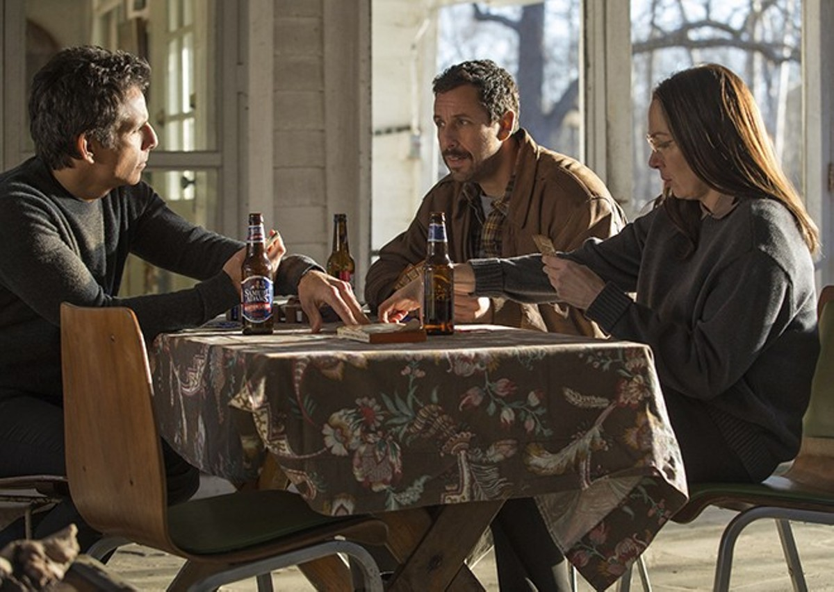 The Meyerowitz kids (Ben Stiller, Adam Sandler and Elizabeth Marvel) attempt to talk about their issues with one another.