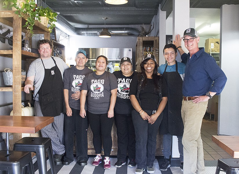 Chef Ben McArthur (far left) and owner Kurt Eller (far right) with Taco Buddha staff. - MABEL SUEN