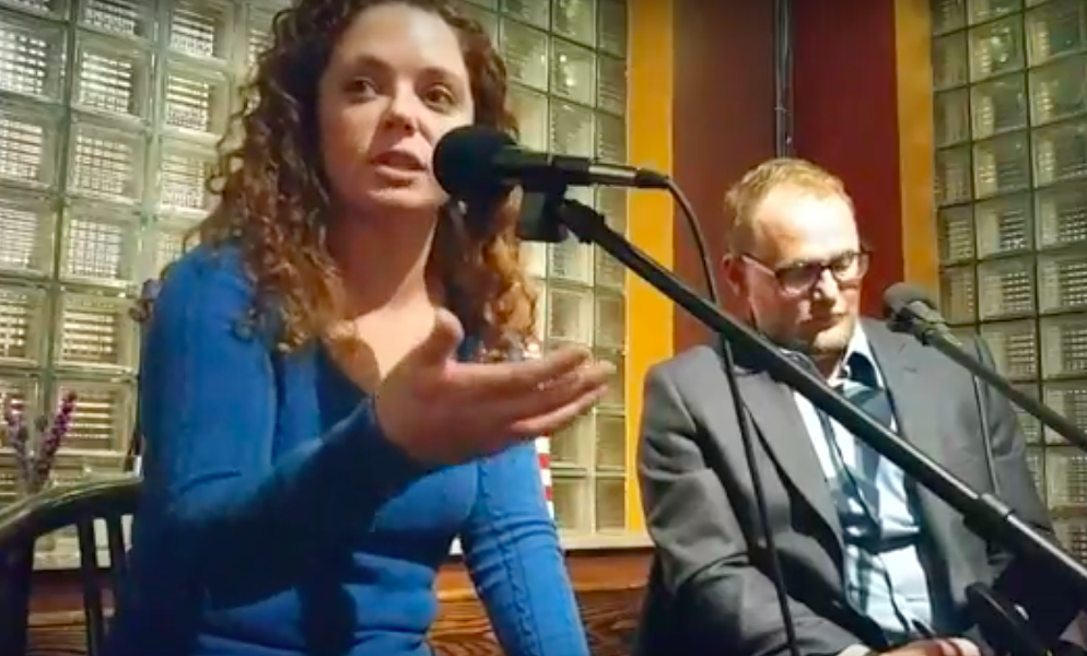 Annie Rice, left, debated Paul Fehler at the Royale on February 7. - VIA YOUTUBE