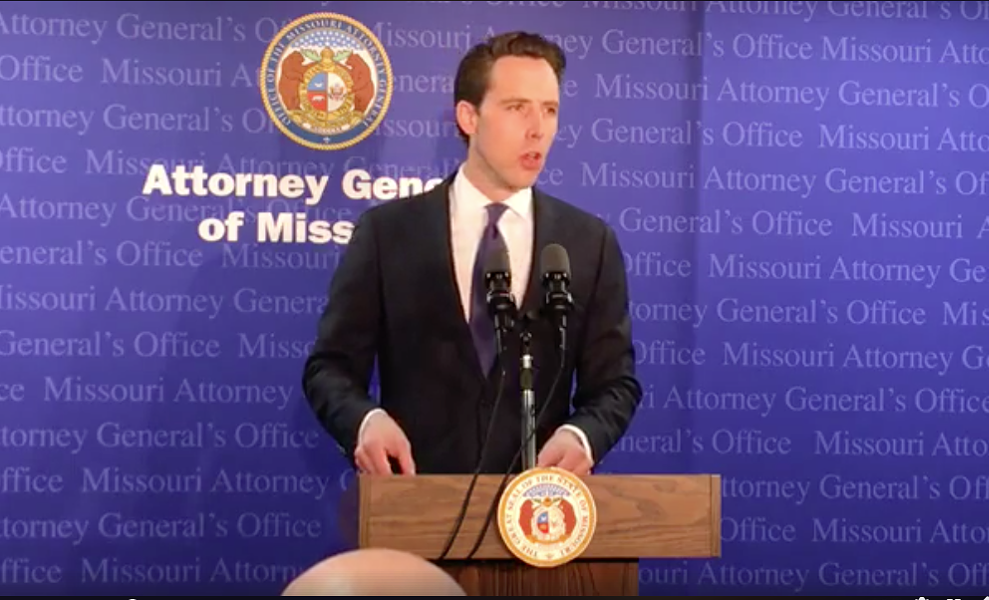 Attorney  General Josh Hawley addressed the press on April 17. - SCREENSHOT VIA FACEBOOK LIVE VIDEO