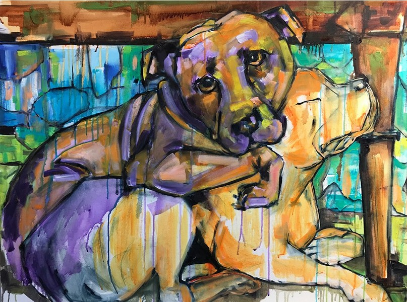 Evie and Novalee are just two of the dogs featured in this year's Urban Wanderers fundraiser. - MICHELLE STREIFF