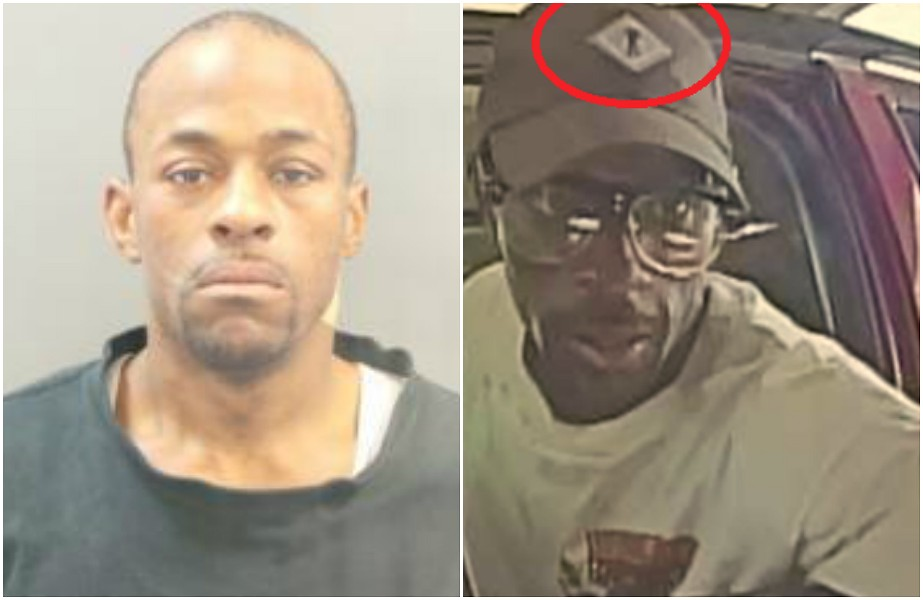 Brandon Mardell Woods shown in a mug shot, left, and a suspect photo released by police before his capture. - ST. LOUIS POLICE