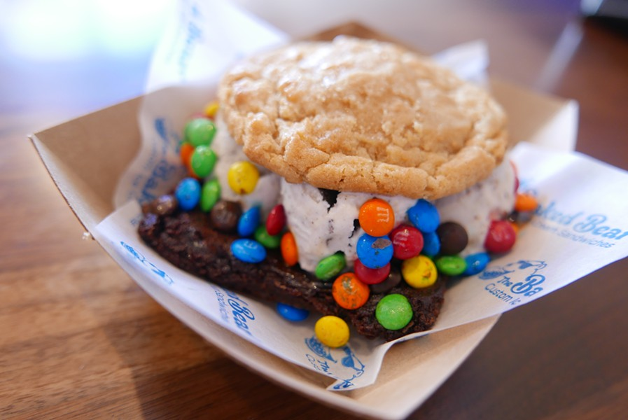 A wonderful, personalized combo: a brownie, ice cream topped with M&Ms, and a peanut butter cookie. - DESI ISAACSON