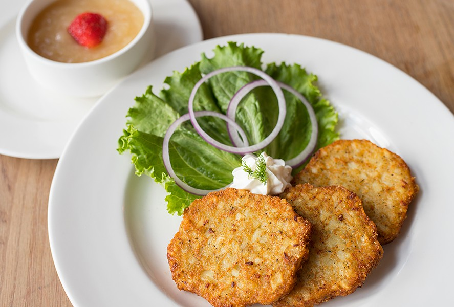 The potato pancakes are a rare bright spot. - MABEL SUEN