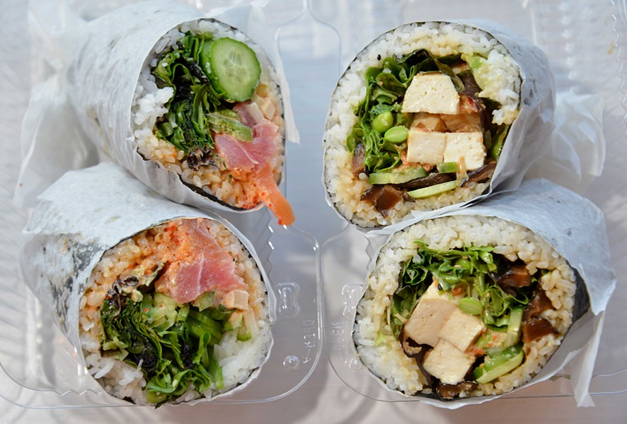 "Chef James Choi's signature nori burritos include ""Maui's Fury,"" left, and ""the Avocoloco."" - TOM HELLAUER"