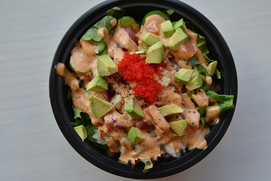 """Maui's Fury"" features Scottish salmon and ahi yellowfin tuna. Fresh avocado and other greens and special sushi rice help bring the dish together. - TOM HELLAUER"