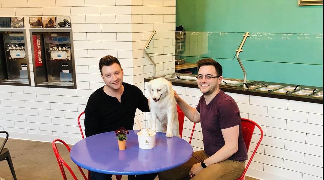 The eponymous Bella, center, with Corey James (left) and Austin Blankenship. - COURTESY OF BELLA'S FROZEN YOGURT