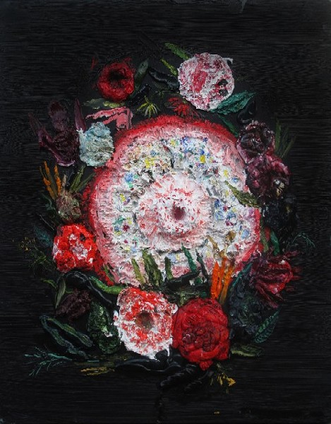 The Flower, from Cryptic: The Use of Allegory in Contemporary Art with a Master Class from Goya at Contemporary Art Museum St. Louis. - ALLISON SCHULNIK, COURTESY THE ARTIST AND MARK MOORE GALLERY, LOS ANGELES.