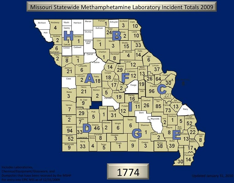Missouri meth labs in 2009. Click for larger image. - PROVIDED BY THE MISSOURI STATE HIGHWAY PATROL