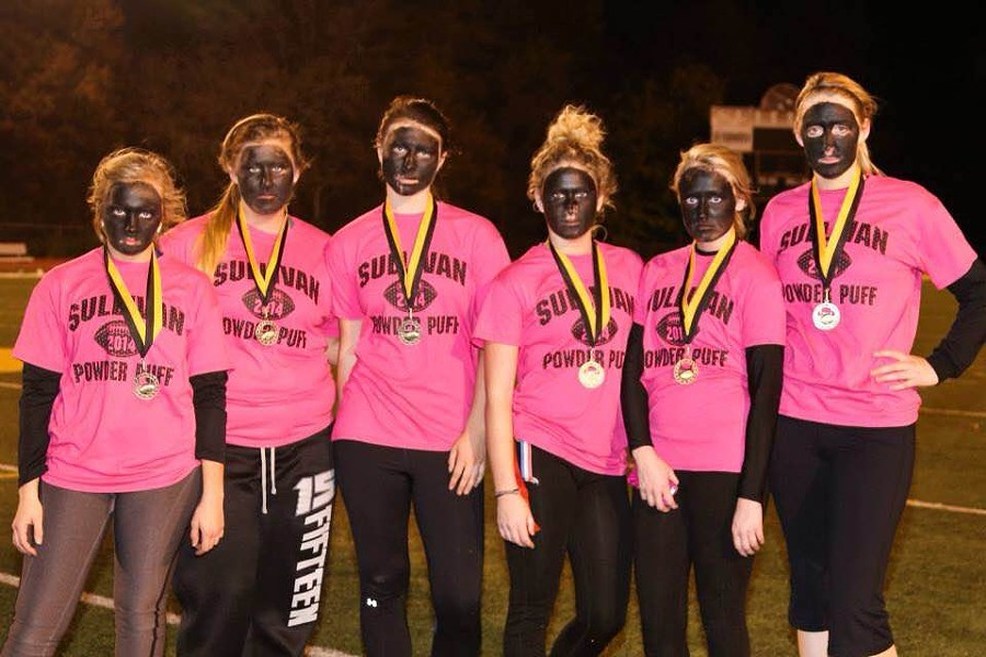 Seniors at Sullivan High donned blackface for the school's annual powder-puff game. - IMAGE FROM FACEBOOK