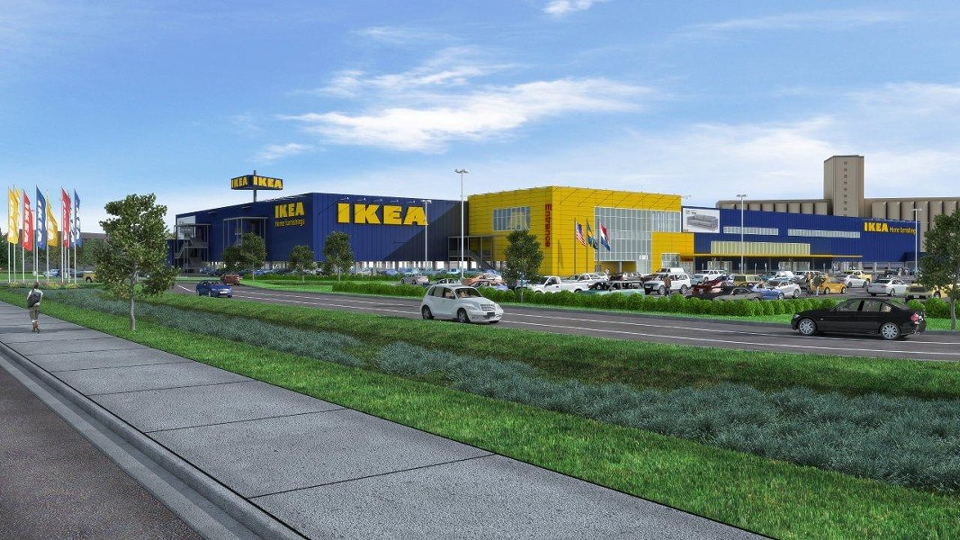 This is what St. Louis' IKEA store will look like. Construction is starting on those bright blue walls now. - IKEA
