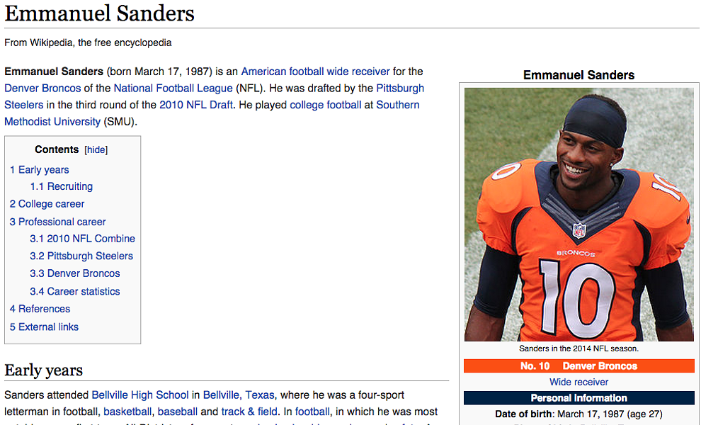 Emmanuel Sanders was declared dead on his Wikipedia page. - WIKIPEDIA
