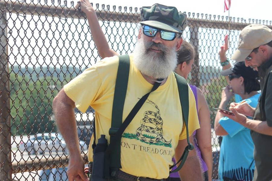 "Jimmy ""Duane"" Weed, 57, of Bridgeton, was arrested on August 17 along with Marc Messmer 41, of St. Charles while protesting on an I-70 overpass. Weed told Daily RFT that ""Our civil rights were violated multiple times"" during the arrest. - DANNY WICENTOWSKI"