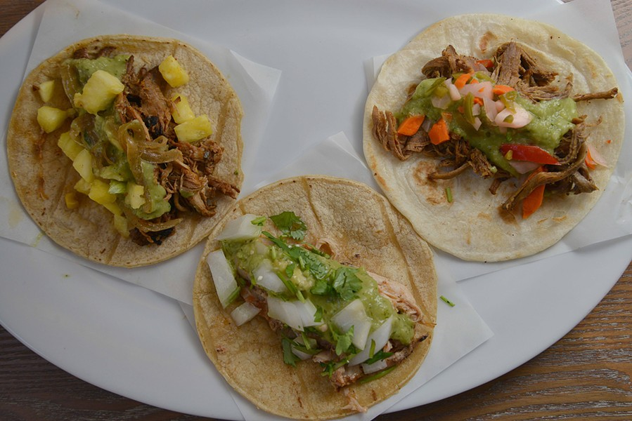 Gringo's tacos are featured on flour and corn tortillas, some soft and some crispy. - TOM HELLAUER