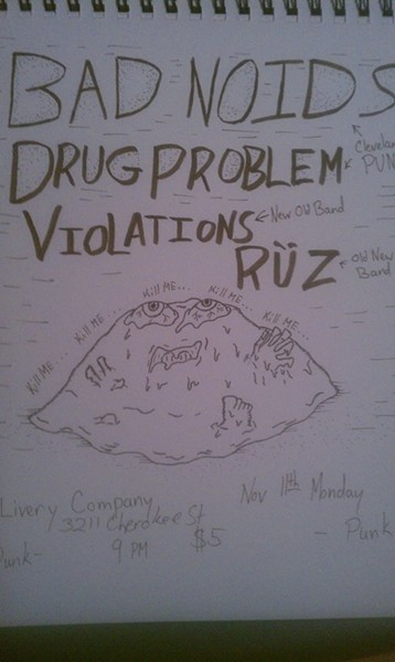 Flyer/scribbling of an upcoming Violations show by Ben Osborne