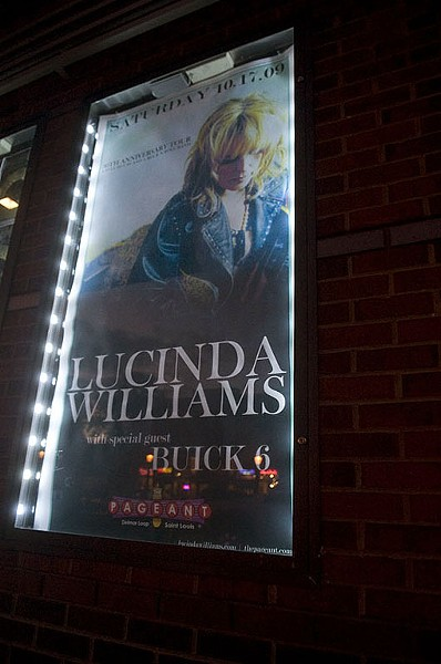 The poster for Lucinda Williams' show last night at the Pageant. See more photos from last night's show. - PHOTO: JON GITCHOFF