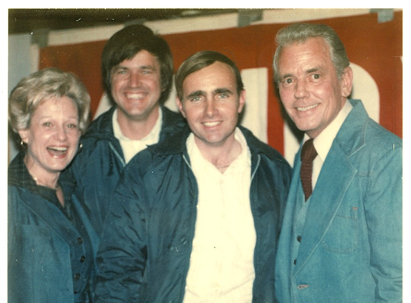 Barklage (second from left) and childhood friend Gene Hoffmeyer (second from right), with traffic reporters Don Miller and Sue Mathias, both became pilots. - COURTESY OF GENE HOFFMEYER
