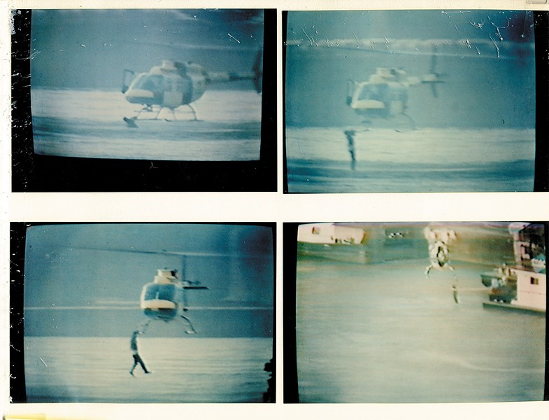 Barklage kept these stills from a TV broadcast in his scrapbook. They show a man who had jumped from a bridge hanging onto Barklage's helicopter during a successful rescue.