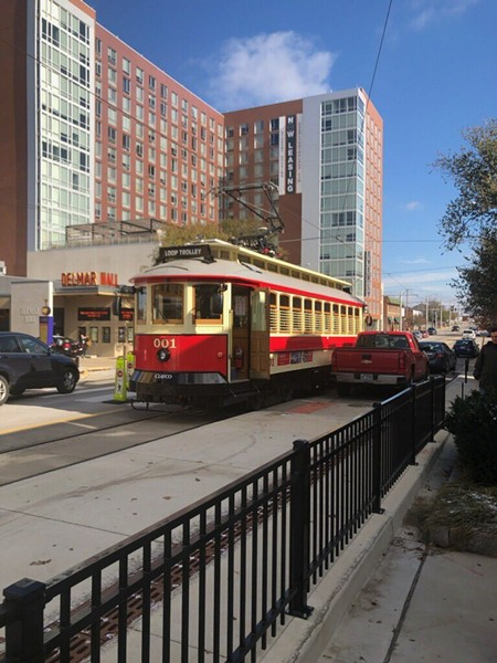 This was the scene two hours ago after the trolley hit a pickup truck. - VIA AN RFT READER