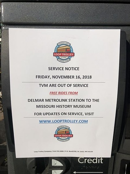 This sign was spotted later on one of the ticket machines on the west side of the trolley line, in the Loop. It was not there, however, at noon when the trolley began operating. - MARSHALL SMITH