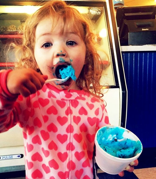 A Young Fan of Cookie Monster Ice Cream at Serendipity | Beckie Jacobs