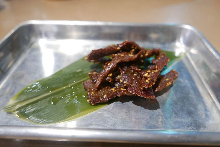 The beef jerky is unlike anything served as a gas station snack. - DESI ISAACSON