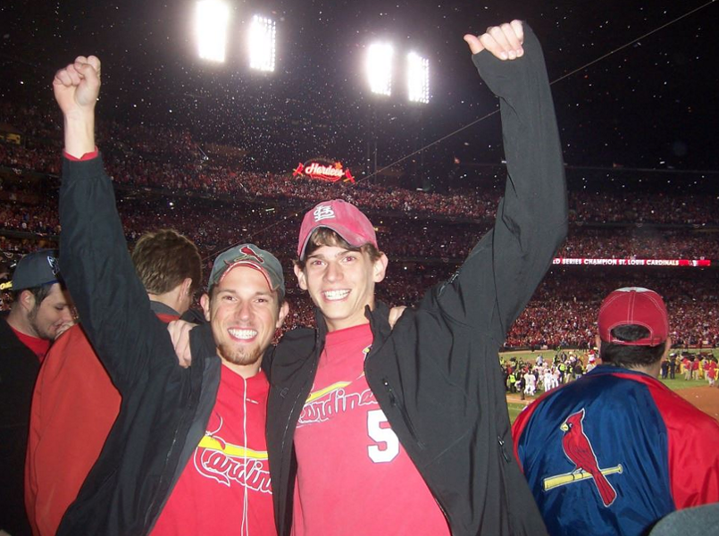 Trevor (left) and Connor Kraus at Busch Stadium after the Cardinals won Game 7 of the World Series. They both snuck in. - COURTESY OF TREVOR KRAUS