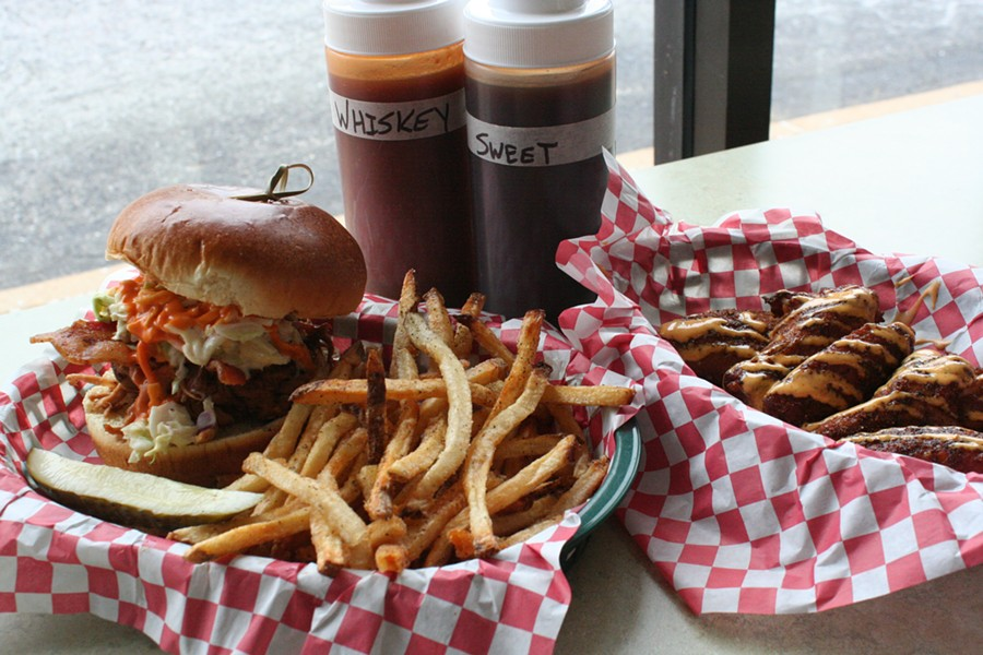 The Notorious P.I.G. sandwich and dry-rubbed wings - JOHNNY FUGITT
