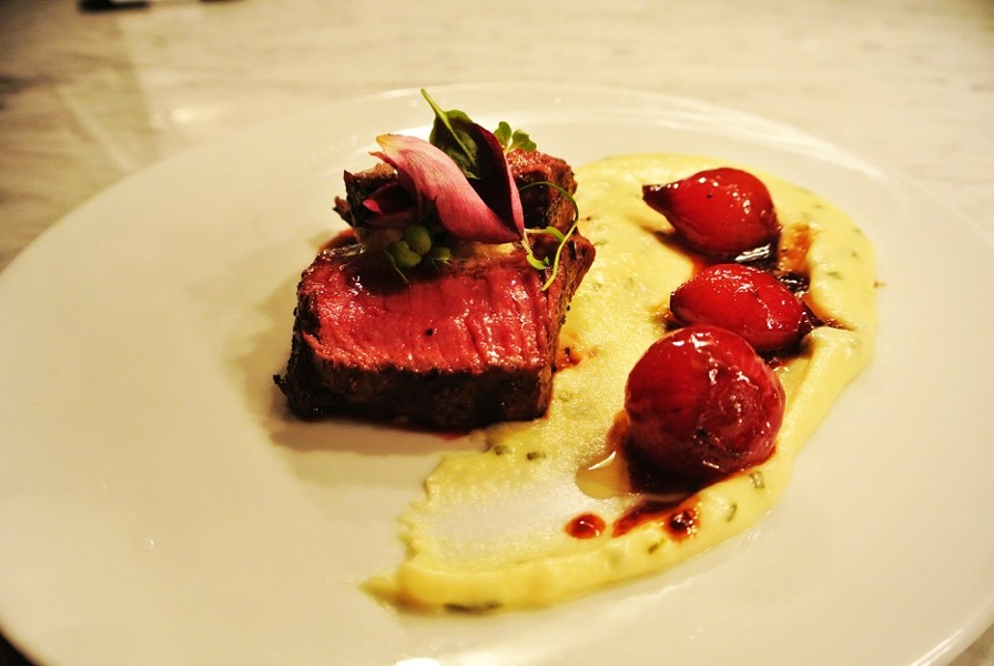 A dish from the new menu at the Preston: A New York strip with Yukon puree. - COURTESY OF THE PRESTON
