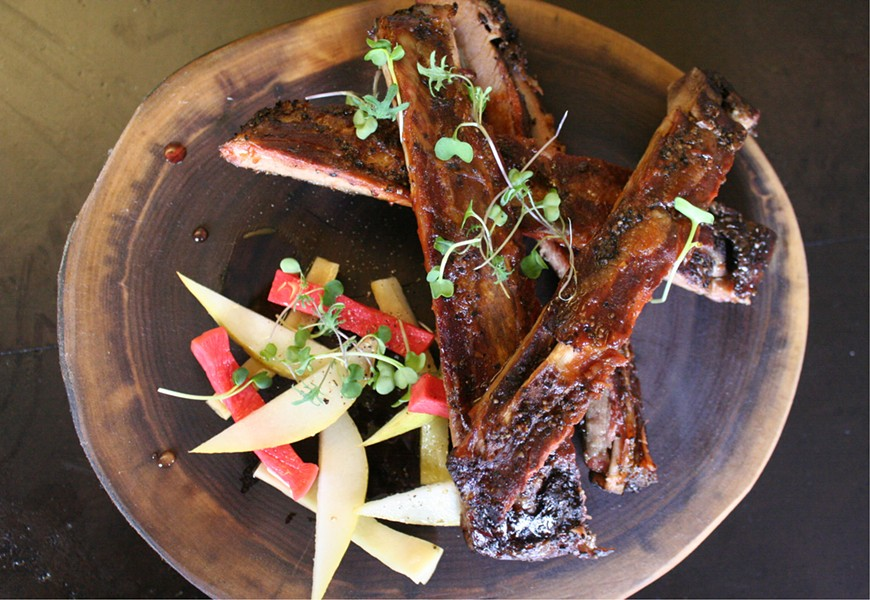 St. Louis-style ribs with radish and pear salad - JOHNNY FUGITT
