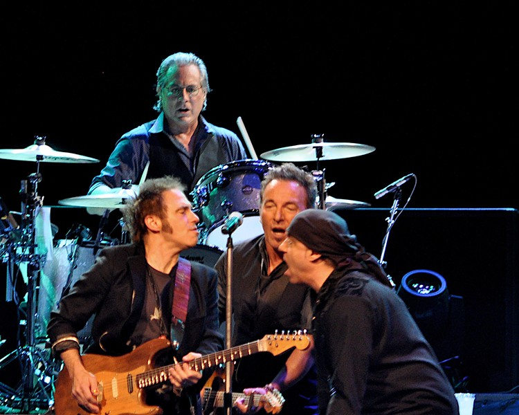 Springsteen and his E Street buddies — Lofgren is on the left. - PHOTO BY JOE KLEON