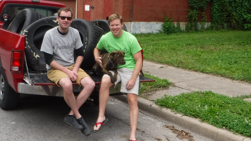 Tipper O'Brien, right, started his company Greendals to try to use some of the tires littering Missouri to create eco-friendly sandals. - TIPPER O'BRIEN