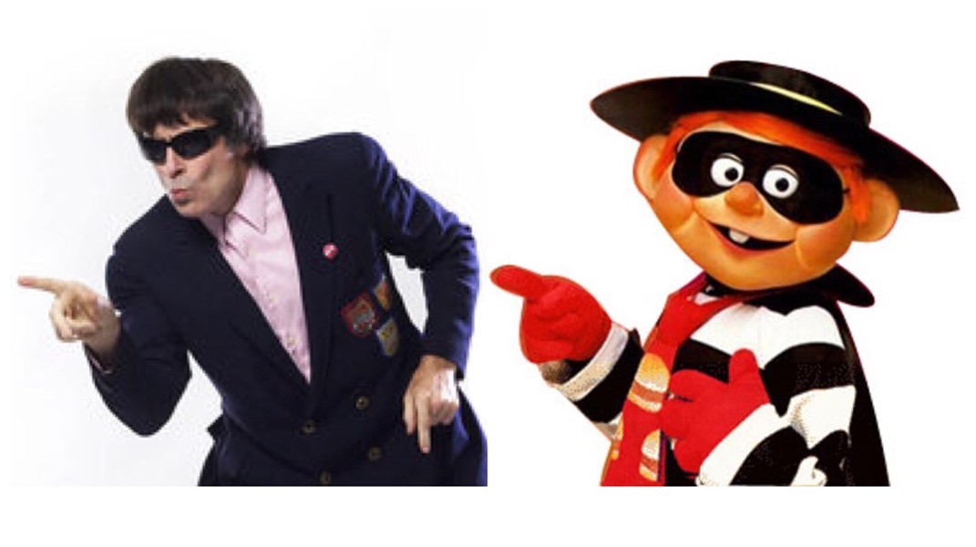 "Beatle Bob pulling a signature dance move and the McDonald's ""Hamburglar"" character - BEATLE BOB PHOTO BY LYNN TERRY"