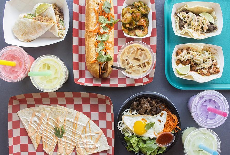 Offerings at Kalbi Taco Shack include a teriyaki chicken burrito, pork bánh mì, kimchi cucumbers, tacos, a quesadilla, a short rib rice bowl and bubble tea. - PHOTO BY MABEL SUEN