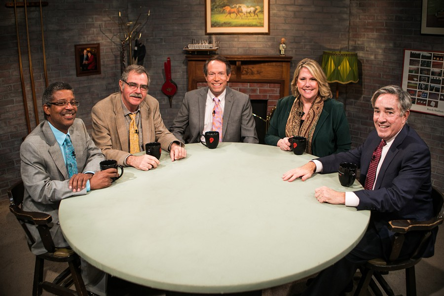 From left: Alvin Reid, Bill McClellan, Charlie Brennan, Wendy Wiese and Ray Hartmann. - COURTESY OF NINE NETWORK / JASON WINKELER PHOTOGRAPHY