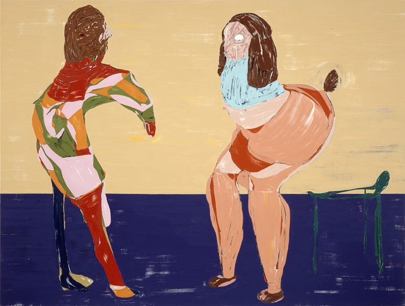 NT 11_018L credit: Nicola Tyson, Self Portrait with Friend, 2011. Oil on canvas, 72 x 95 inches. Courtesy the artist; Susanne Vielmetter Los Angeles Projects; Petzel Gallery, New York; and Sadie Coles HQ, London.