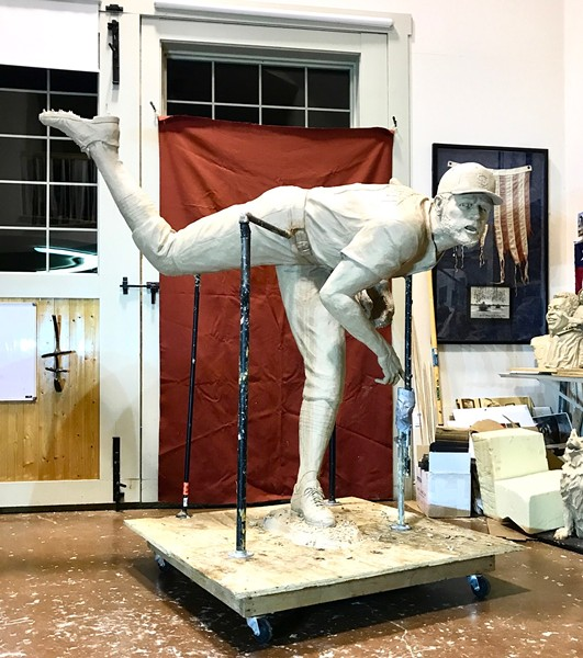 """""""It's like a ballet step,"""" sculptor Harry Weber says of Adam Wainwright's follow-through, now depicted in statue form. - HARRY WEBER"""