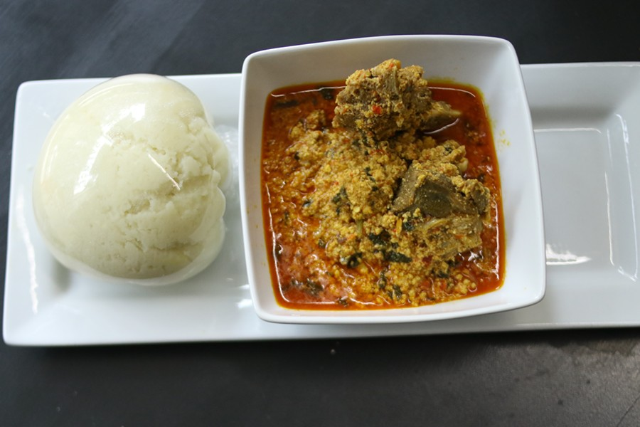 Eugsi Soup- Goat meat soup served with pounded yam. - CHELSEA NEULING