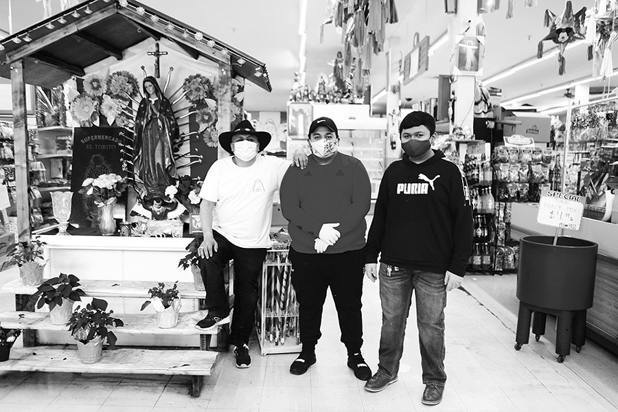 Hector Medina, Oscar Medina, Cesar Medina at El Torito Supermercado. - NATE BURRELL