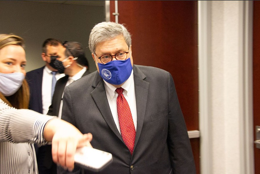 Bill Barr arrives for a very brief press conference on Thursday in St. Louis. - DANNY WICENTOWSKI