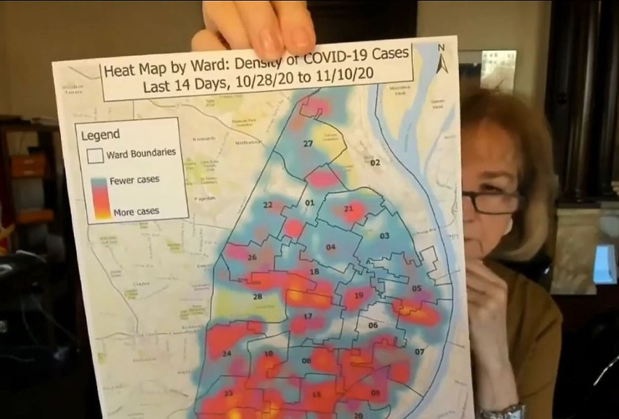 """St. Louis Mayor Lyda Krewson holds up a new COVID-19 """"heat map"""" of St. Louis City. - SCREENSHOT VIA KMOV/FACEBOOK"""