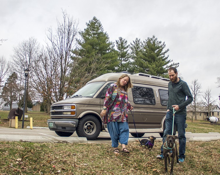 Dogs Nymeria and Crow are two big reasons why Jayme and John Serbell opted for a conversion van instead of an SUV. - PHOTO BY ALLISON BABKA